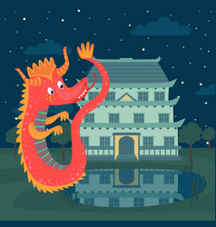 Cute red dragon next to a castle at night fairy vector