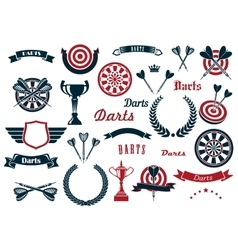 Darts sport game design elements and items vector image