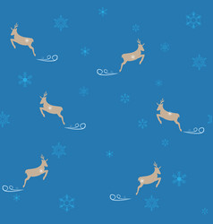 deer and snowflake seamless pattern fashion vector image