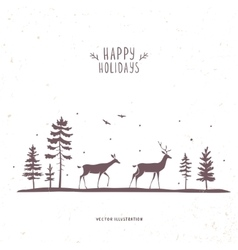 Deer forest vector