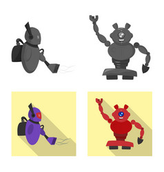 Design of robot and factory icon vector