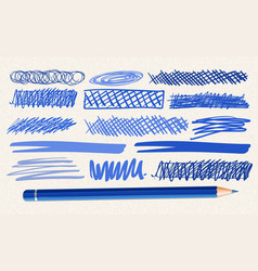 different hand drawn marks in blue color vector image