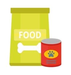 Dry dog treats in bowl and big bag food animal vector