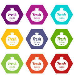 eco fresh juice icons set 9 vector image