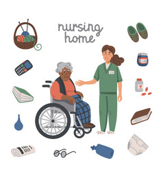 elderly black woman in wheelchair young nurse and vector image