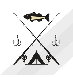 Fishing design rod and lure vector