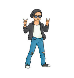 flat man showing rock sign vector image