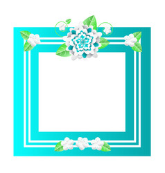 floral frame with lines and flowers empty banner vector image