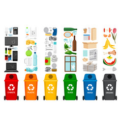 garbage containers and types of trash vector image