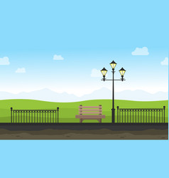 Garden with street lamp landscape for background vector