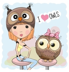Girl and owl vector image vector image