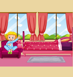 Girl in pink bedroom vector