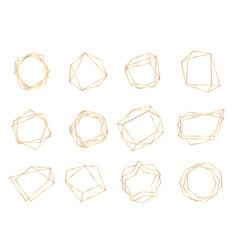 gold polygonal frames triangle line shape vector image