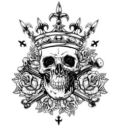 Graphic human skull with crossed bones and crown vector