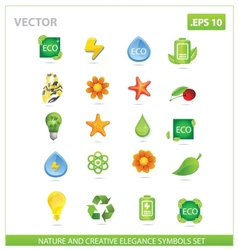 Green nature big pack symbols set vector