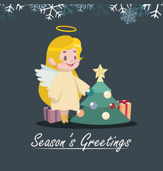 greeting with an angel and christmas tree vector image