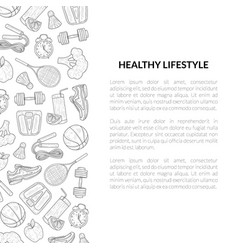 healthy lifestyle banner template sports and vector image