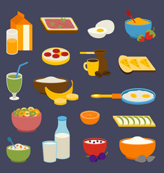 healthy nutrition breakfast proteins fats vector image