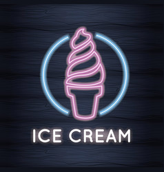 Ice cream neon lights vector