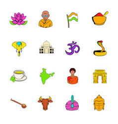 India icons set cartoon vector