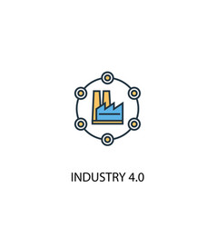 industry 40 concept 2 colored line icon simple vector image