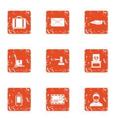 Involucre icons set grunge style vector