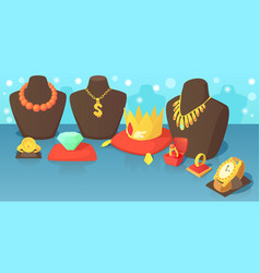 Jewelry horizontal banner concept cartoon style vector