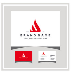 Letter w fire logo design with business card vector