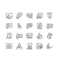 line business training icons vector image