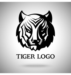 logo template with tiger face for badges vector image