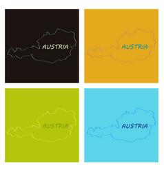 Map of austria monochrome contour map with city vector