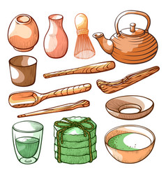 matcha tea ceremony and ingredient hand drawn set vector image