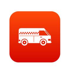 Minibus taxi icon digital red vector