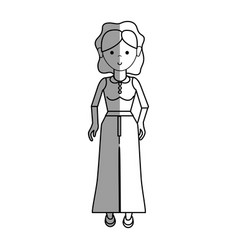 Nice woman with blouse and pants cloth vector
