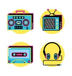 nineties retro set icons vector image