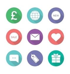 Online shop flat design icons set vector image
