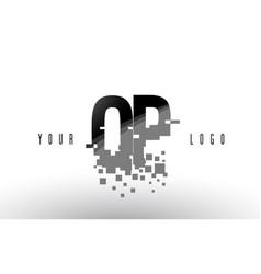 Op o p pixel letter logo with digital shattered vector