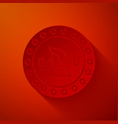 Paper cut pirate coin icon isolated on red vector