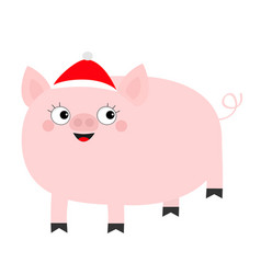 pig piglet in santa red hat cute cartoon funny vector image
