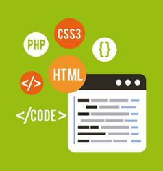 Programming and coding concept website development vector