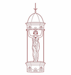 red drawing of a caryatid vector image
