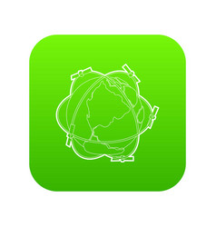 Satellite system around earth icon green vector
