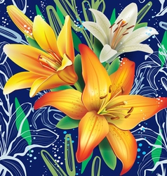 Seamless floral pattern with lilies vector