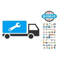 Service Car Icon With 2017 Year Bonus Pictograms vector