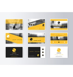 Set of business cards yellow background Template vector image