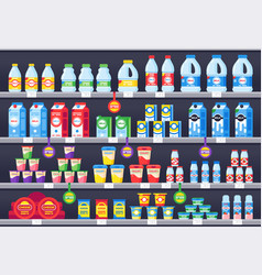 shop shelf with milk products dairy grocery store vector image