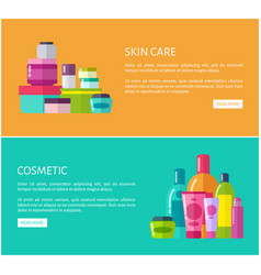 Skincare cosmetic online advertisement pages set vector
