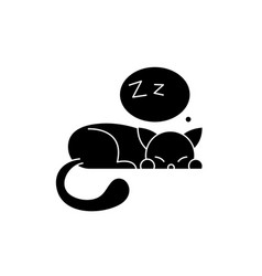 sleeping cat black icon sign on isolated vector image
