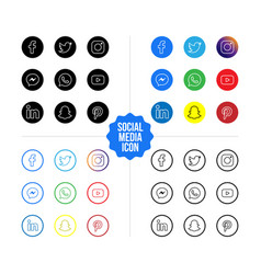 social media icons set line style vector image