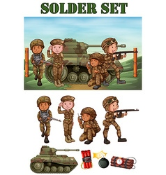 Soldiers with gun in field vector